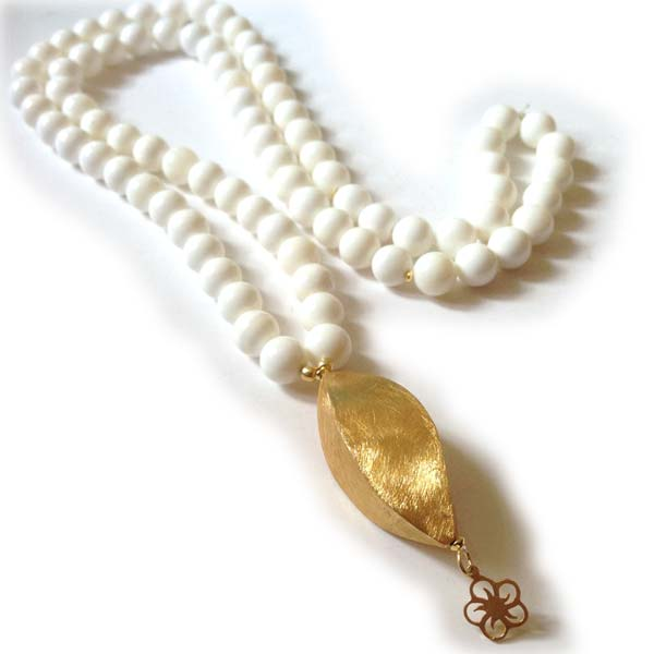 White Moonstone Necklace with large Gold on Silver Charms