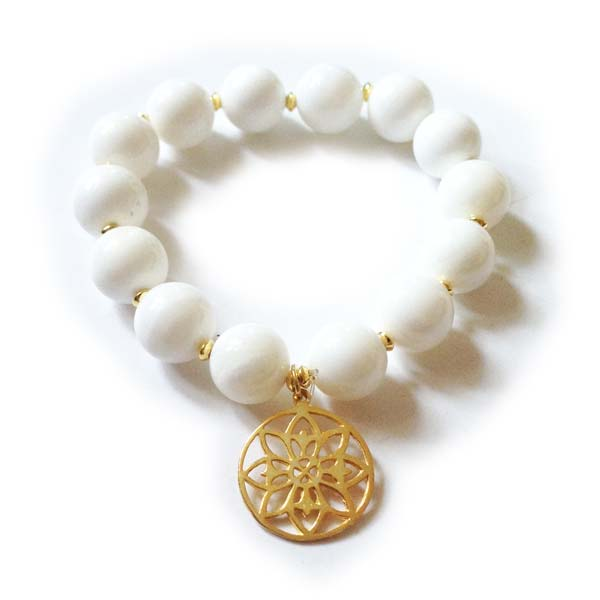 White Moonstone and Gold on silver Charm