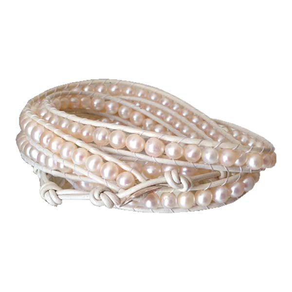 Wrap Pearl and White Leather Bracelet