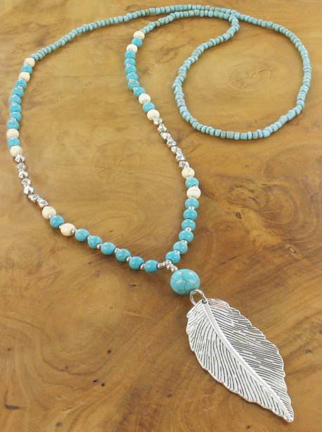 Silver feather pendant Necklace  with blue beads