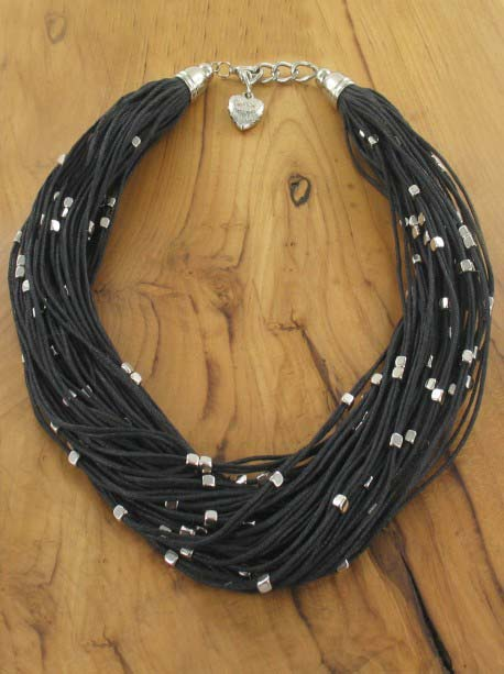 Leather look black multi-strands and metal detail Necklace