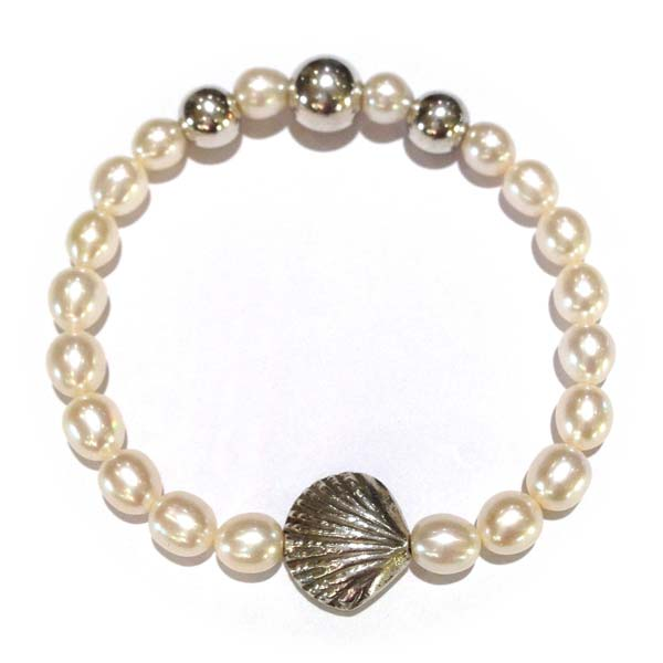 Sterling Silver and Freshwater Pearl and Shell Charm bracelet