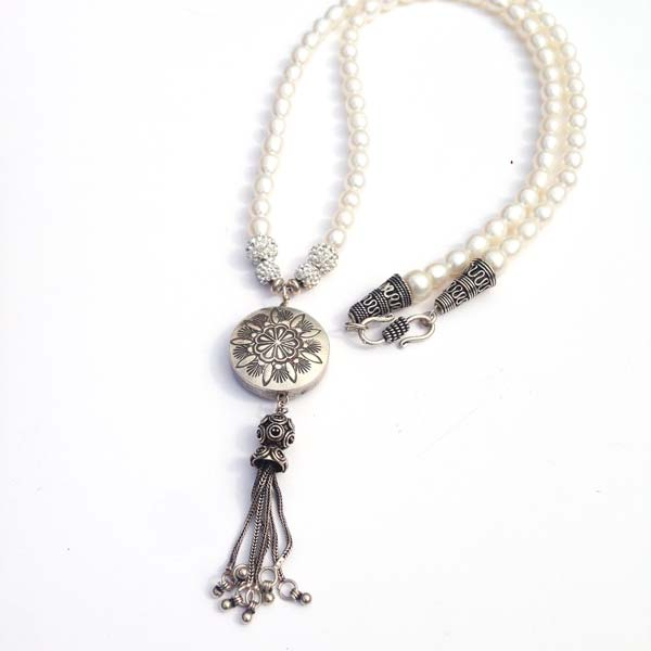 Fresh Water Pearl and Silver Charm long Necklace