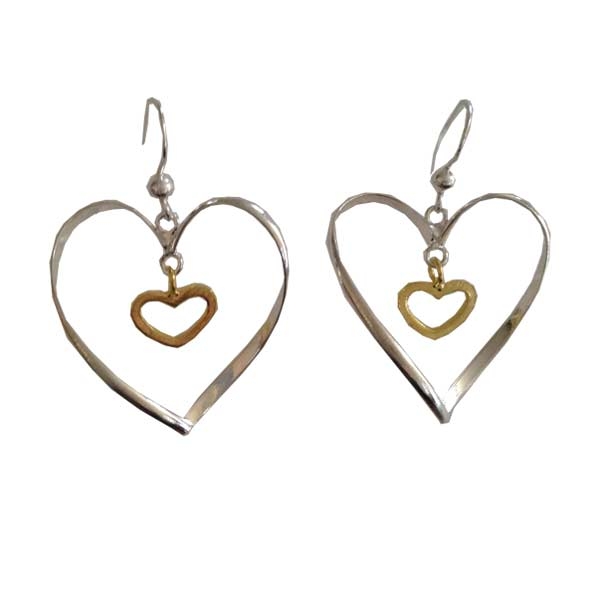 Silver and Gold Double Heart Earrings