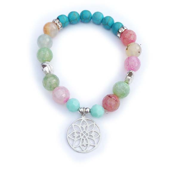 Sterling Silver and semi precious stone stacking bracelet