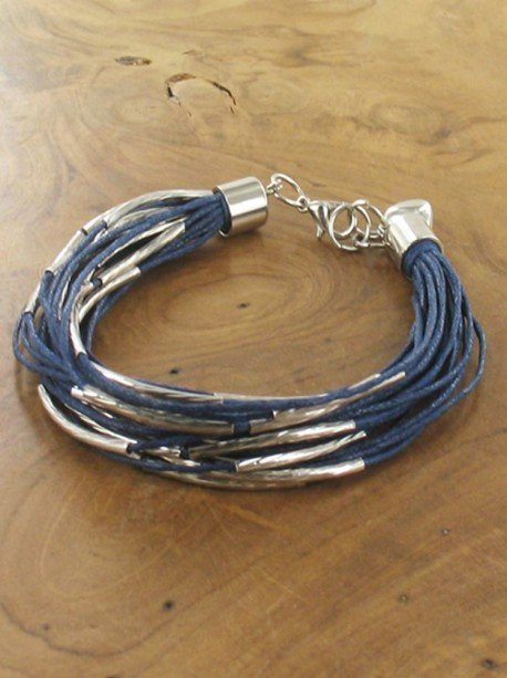 Multistrand and metal blue bracelet