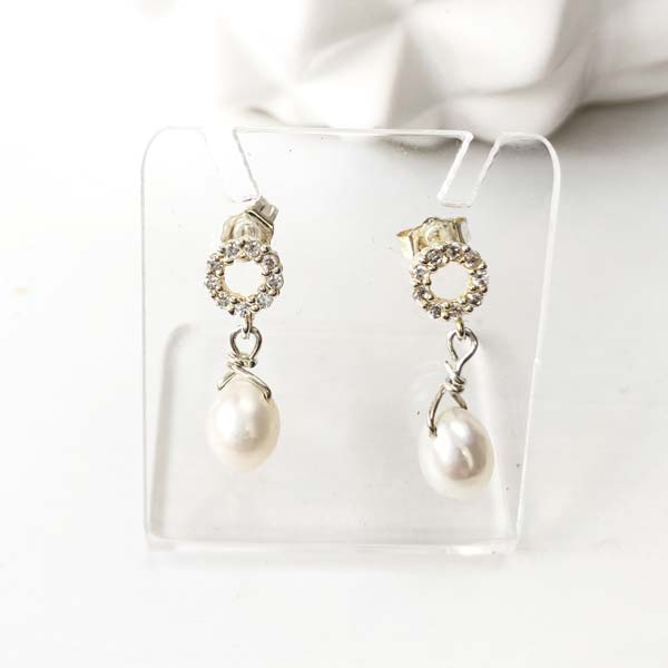 White Pearl drop earrings with Crystals