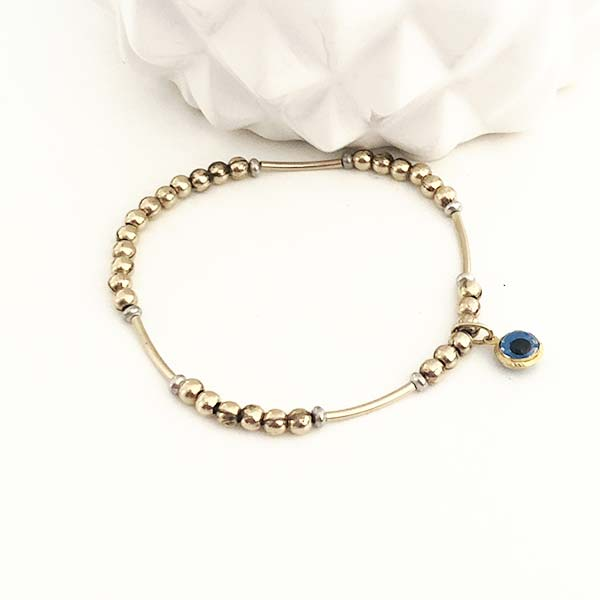 Silver and Vermeil Charm Stacking Bracelet