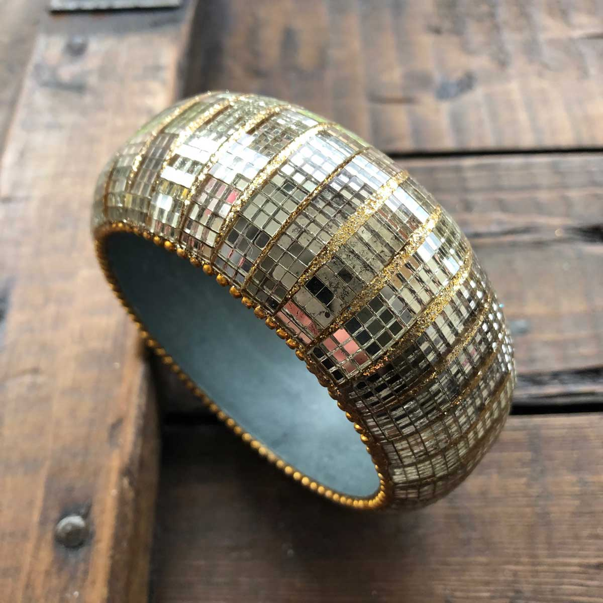 Sparkly Gold Mirror Bangle Large