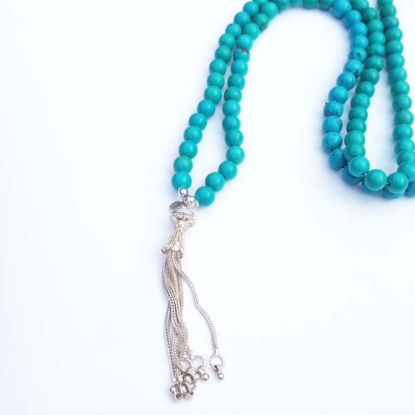 Turquoise and Silver Long Necklace
